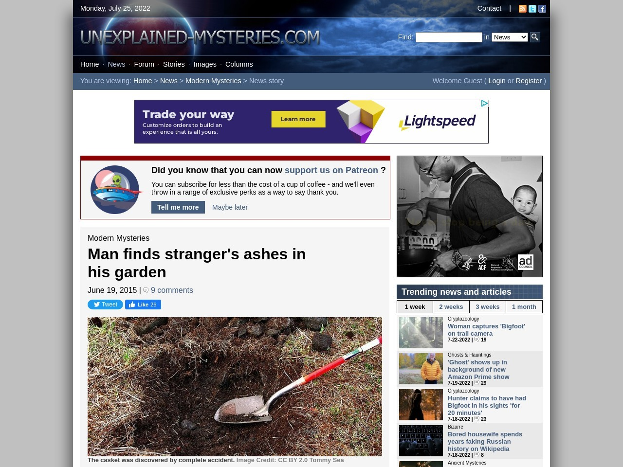 Man finds stranger's ashes in his garden