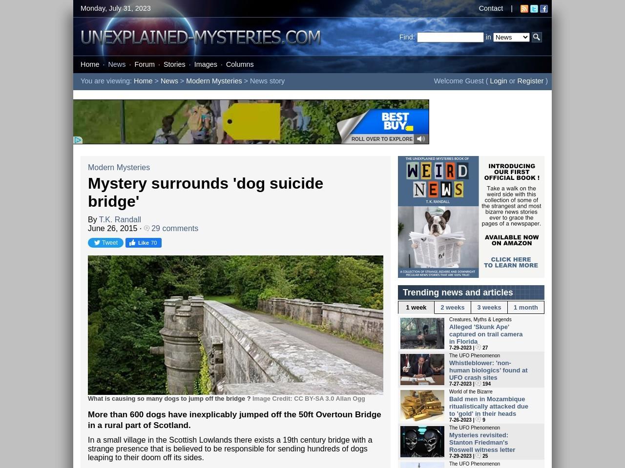 Mystery surrounds 'dog suicide bridge'