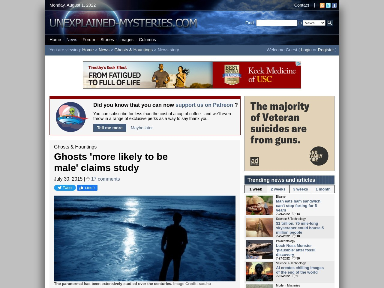Ghosts 'more likely to be male' claims study