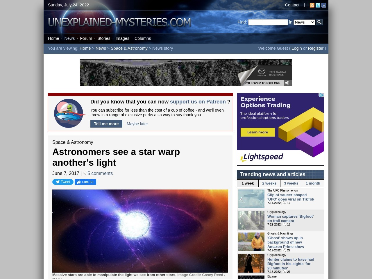 Astronomers see a star warp another's light
