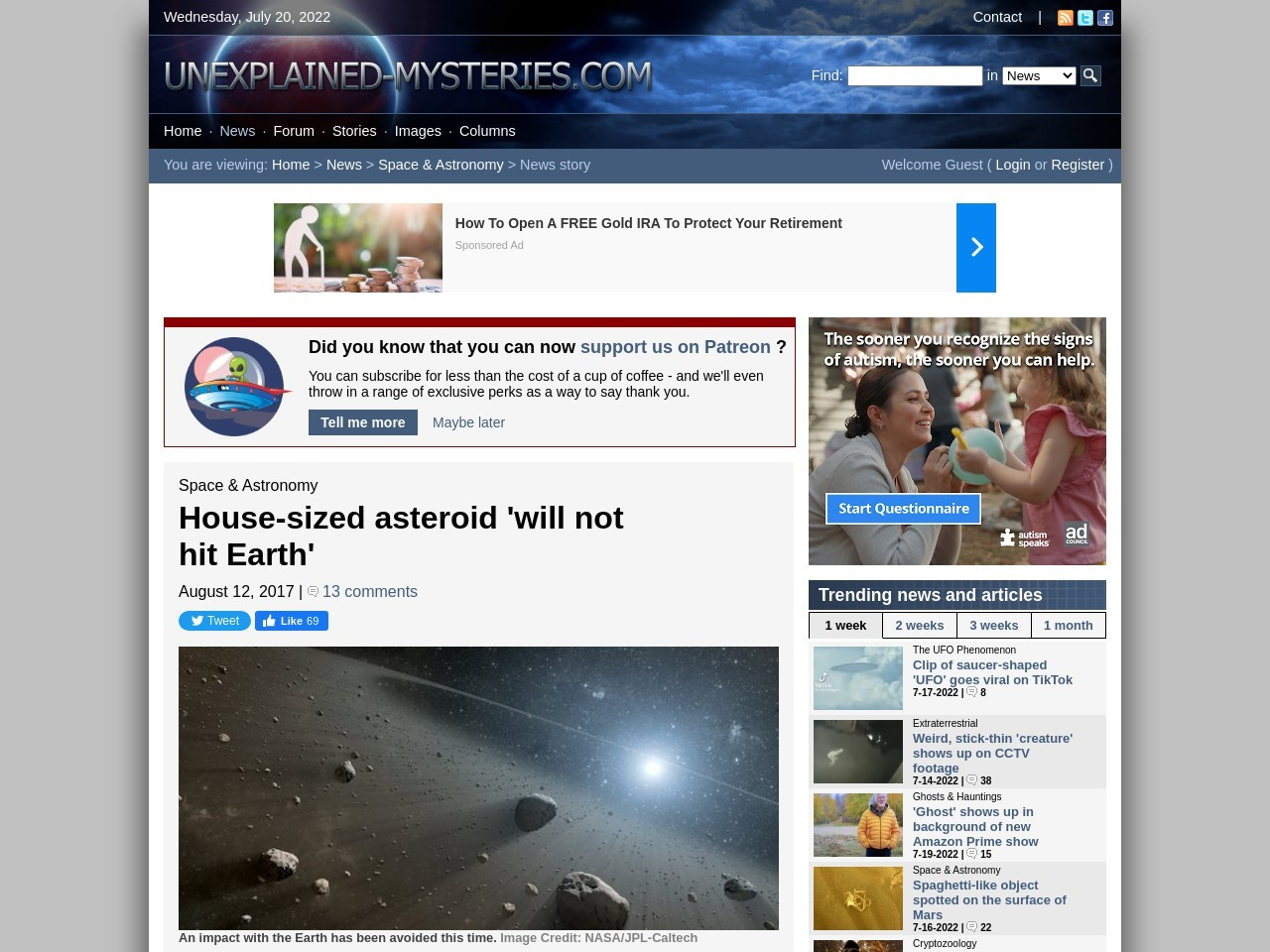 House-sized asteroid 'will not hit Earth'