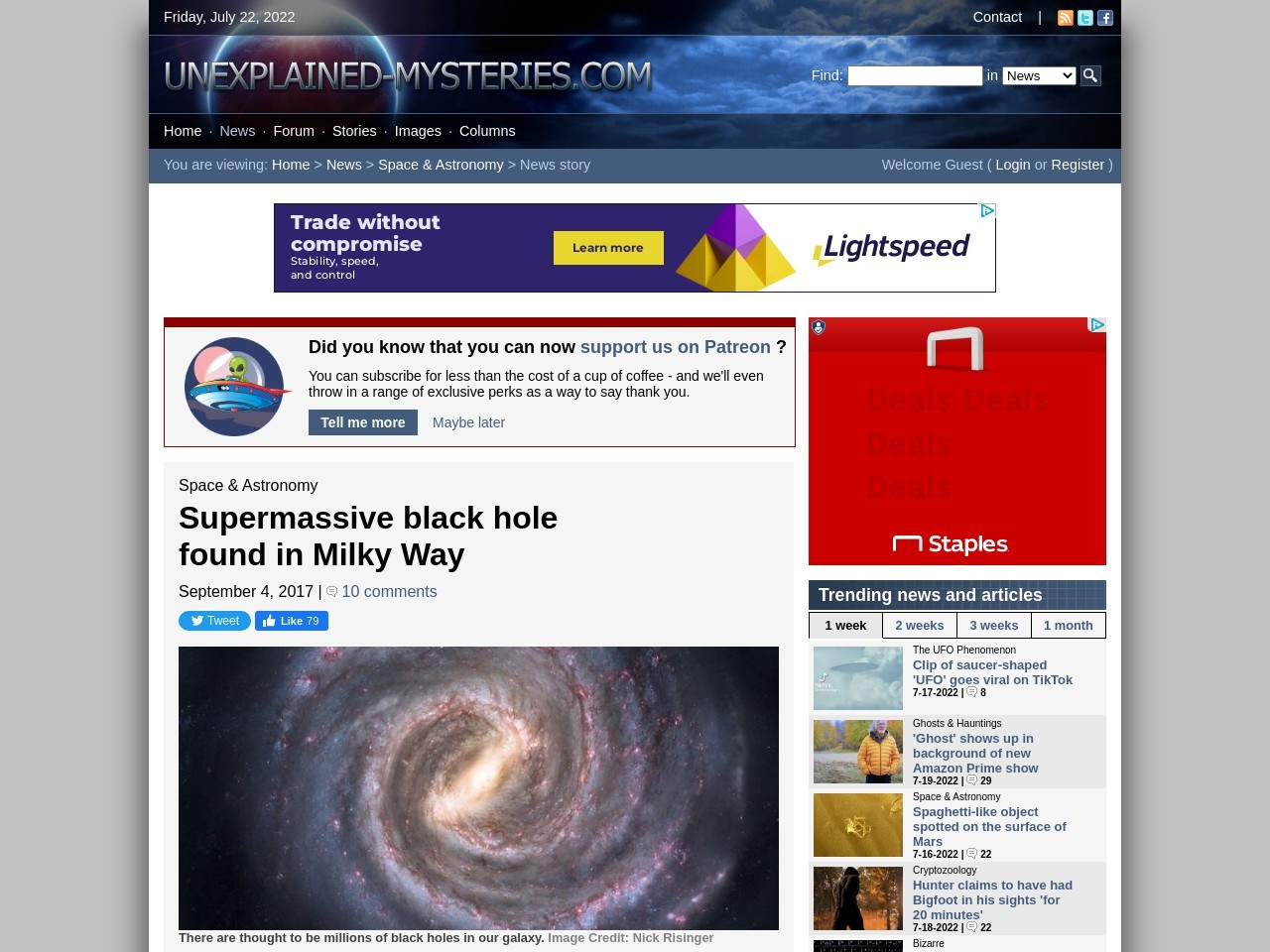 Supermassive black hole found in Milky Way