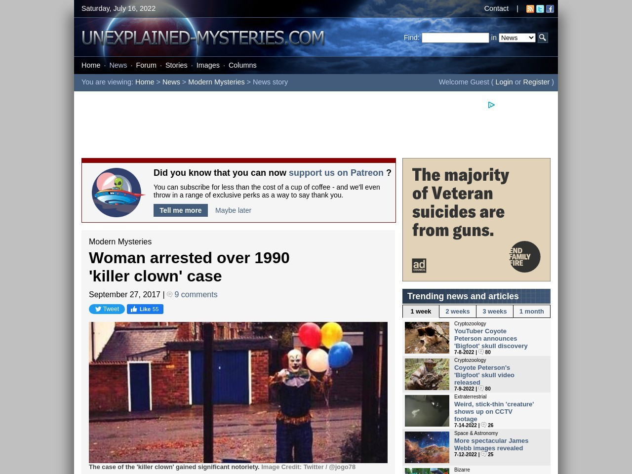 Woman arrested over 1990 'killer clown' case