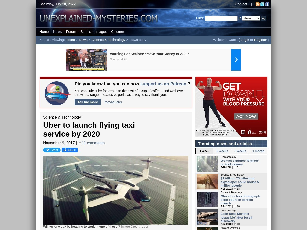 Uber to launch flying taxi service by 2020