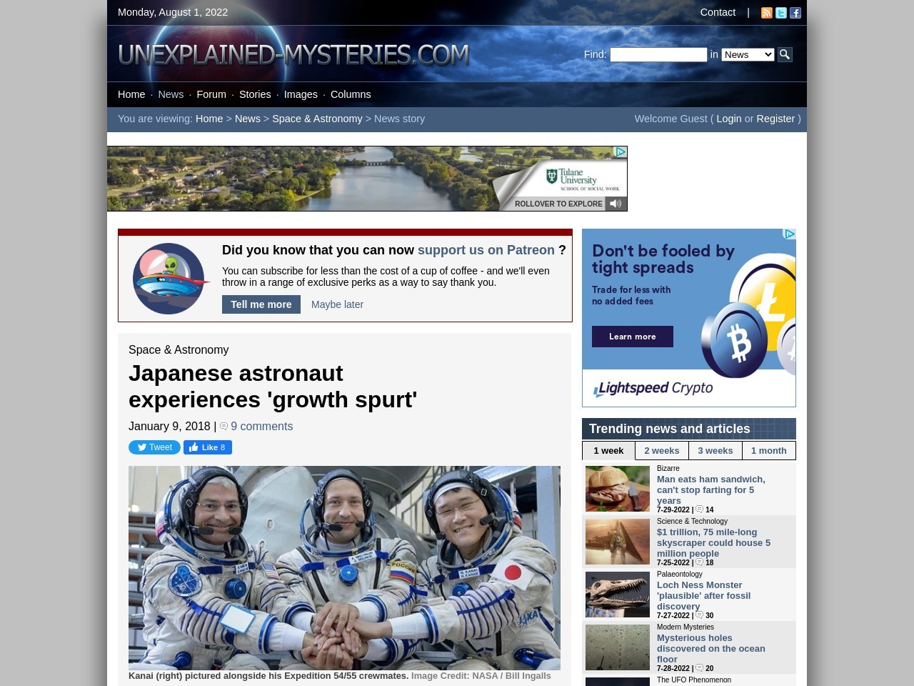 Japanese astronaut experiences 'growth spurt'