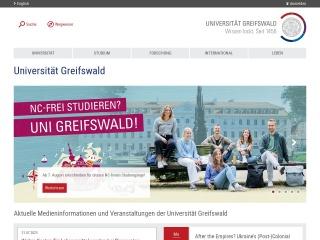Screenshot der Website uni-greifswald.de