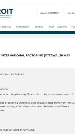 Vorschau der mobilen Webseite www.unidroit.org, Ottawa-Konvention