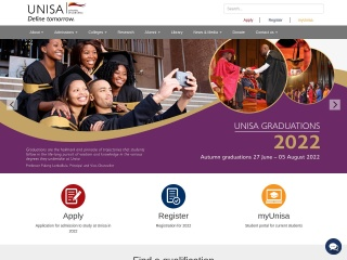 Screenshot for unisa.ac.za