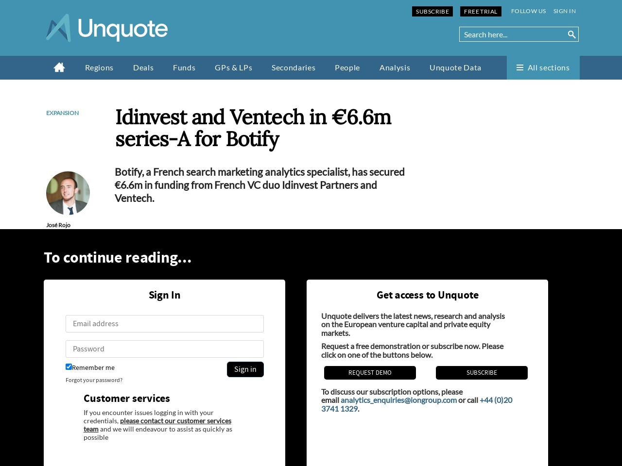 Idinvest and Ventech in €6.6m series-A for Botify