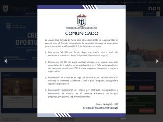Captura de pantalla para upt.edu.pe