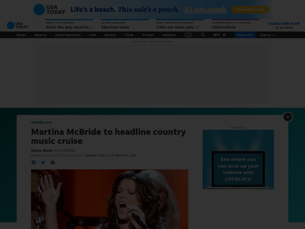 Martina McBride to headline country music cruise