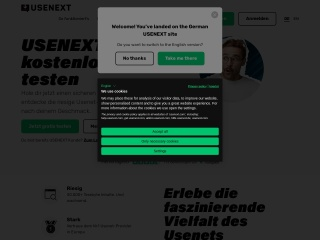 Screenshot der Website usenext.de