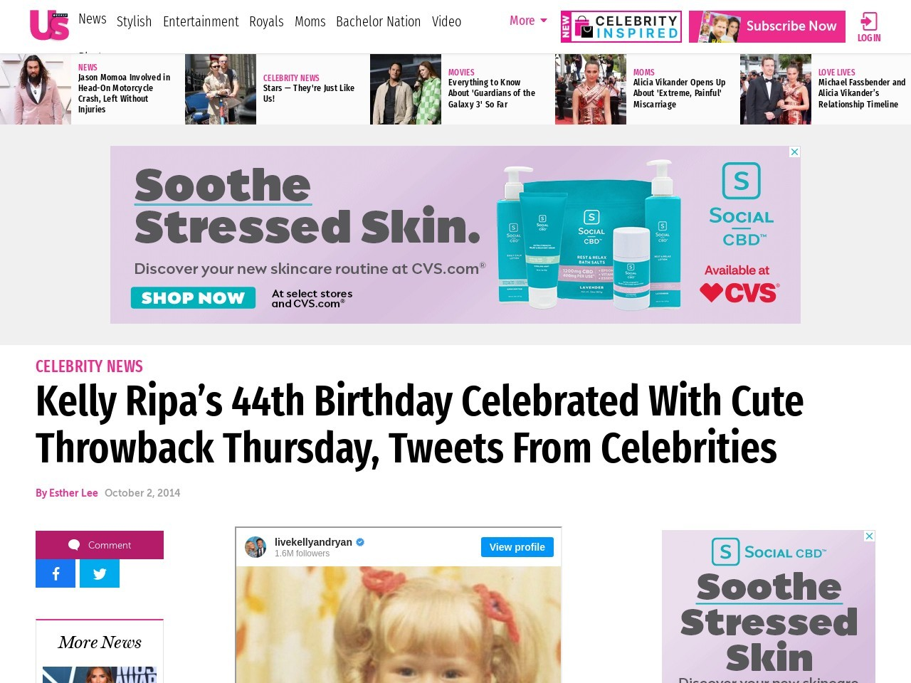 Kelly Ripa's 44th Birthday Celebrated With Cute Throwback Thursday, Tweets …