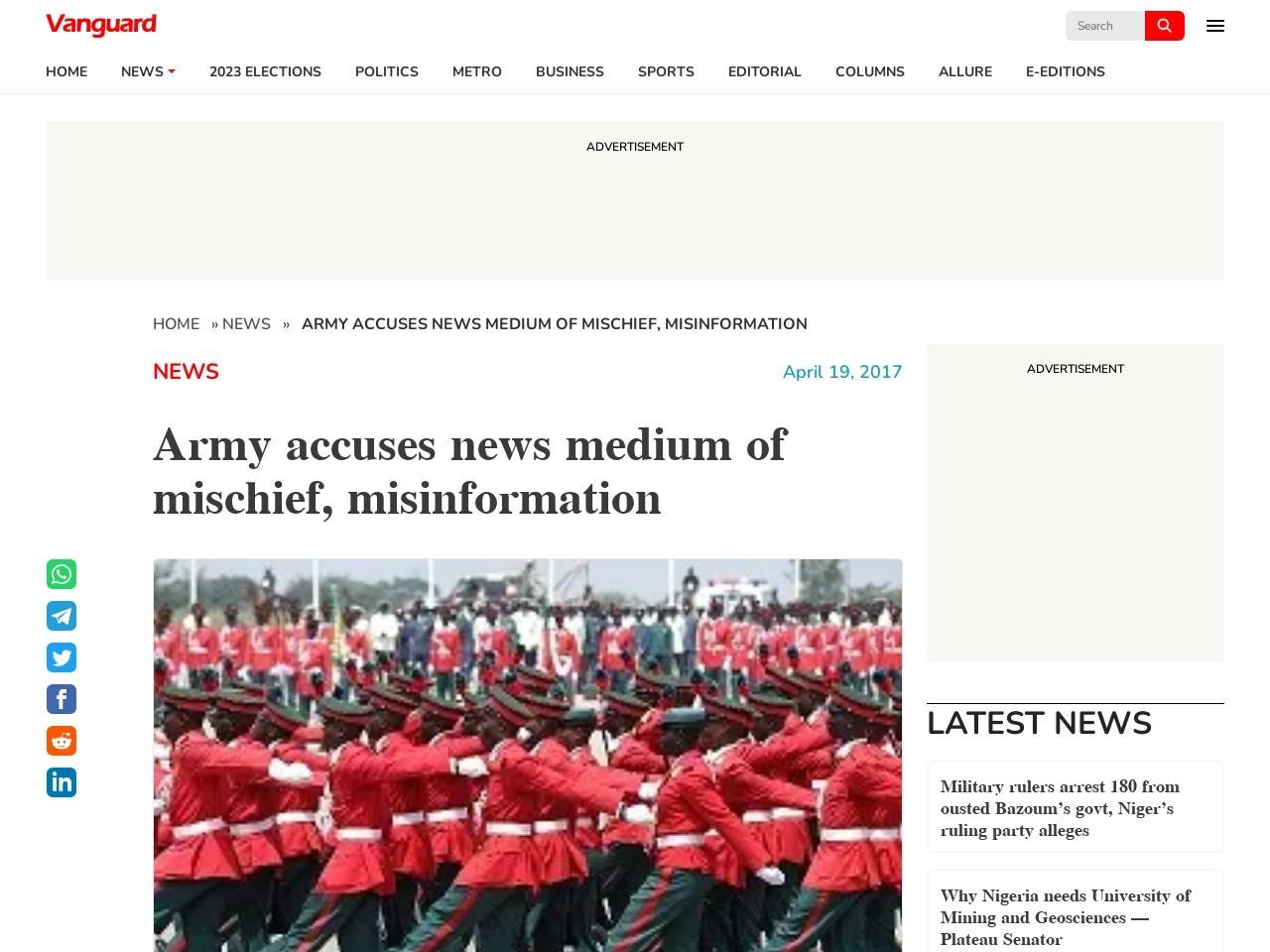 Army accuses news medium of mischief, misinformation