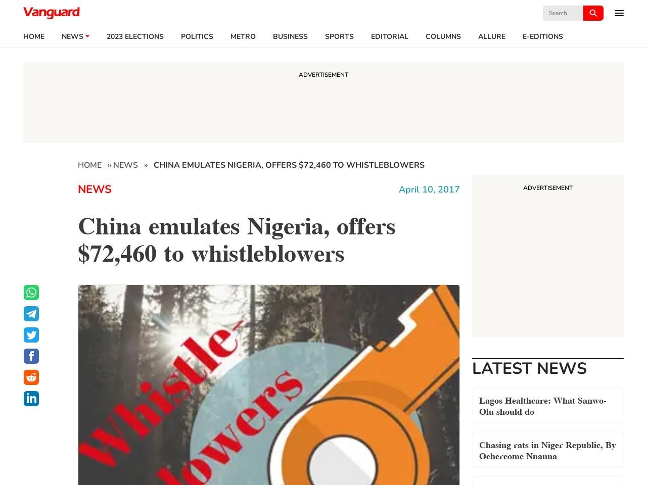 China emulates Nigeria, offers $72,460 to whistleblowers