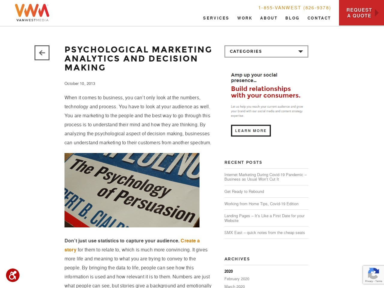 Psychological Marketing Analytics and Decision Making | Van West …