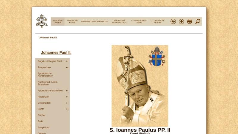 www.vatican.va Vorschau, Der Heilige Vater Johannes Paul II