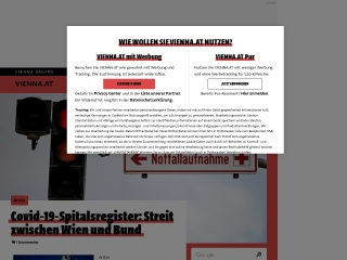 Screenshot der Website vienna.at