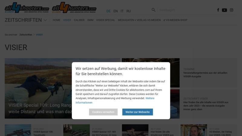 www.visier.de Vorschau, Visier, das internationale Waffen-Magazin
