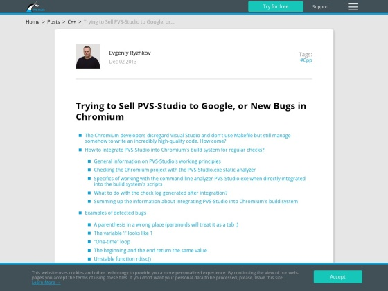 Trying to Sell PVS-Studio to Google, or New Bugs in Chromium
