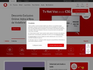 Screenshot do site vodafone.pt
