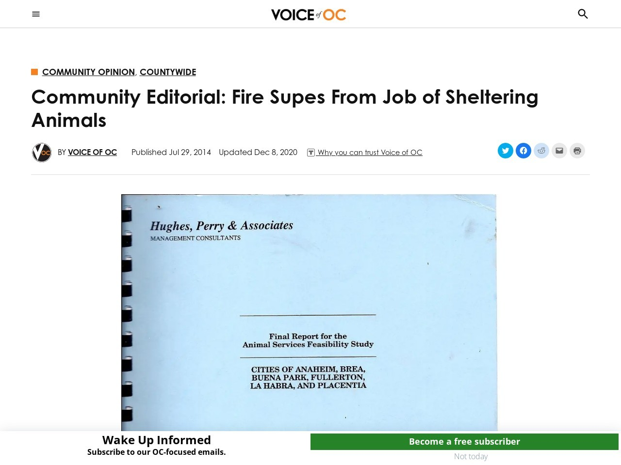 Community Editorial: Fire Supes From Job of Sheltering Animals