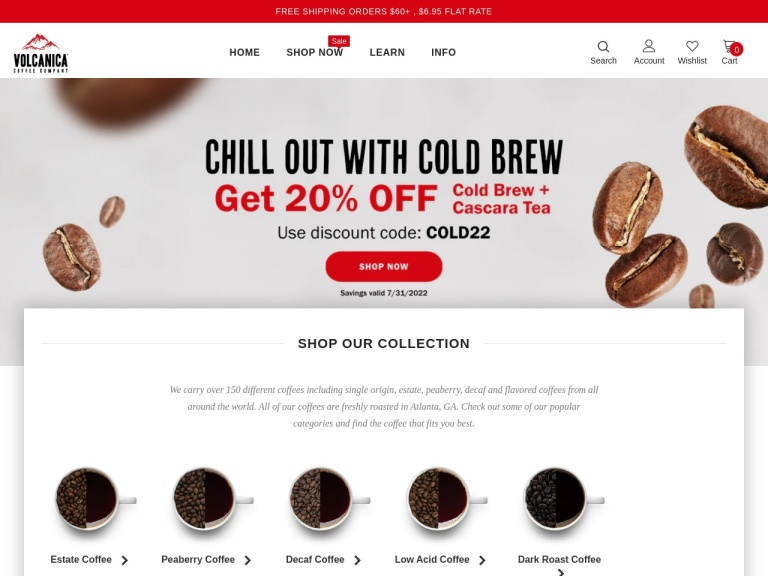 Volcanica Coffee screenshot