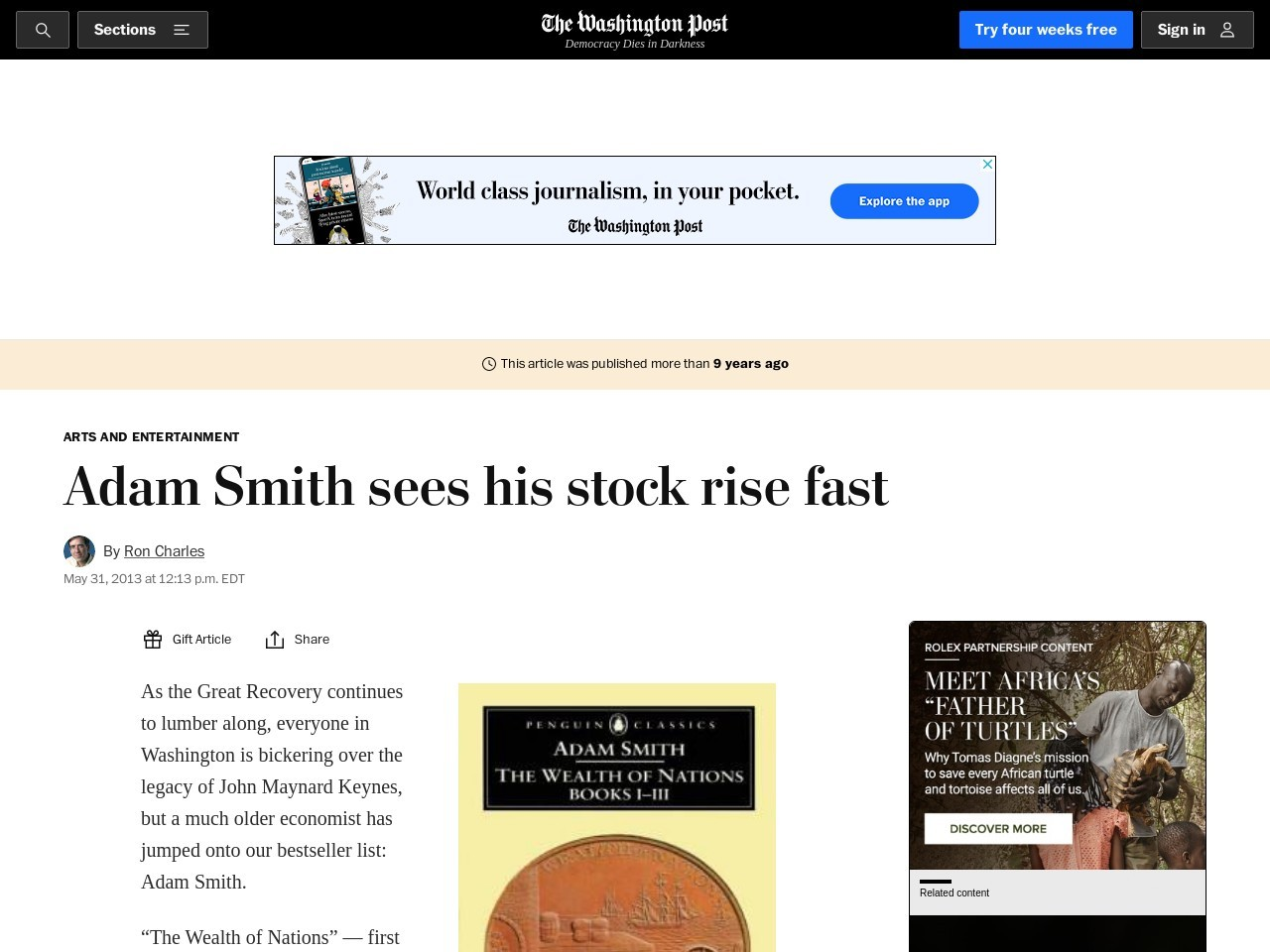 Adam Smith sees his stock rise fast