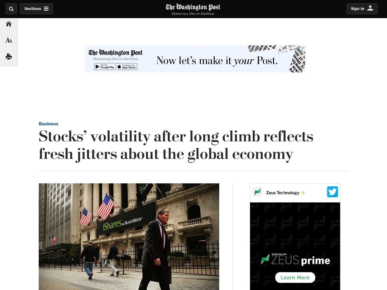 Stocks' volatility after long climb reflects fresh jitters about the global …