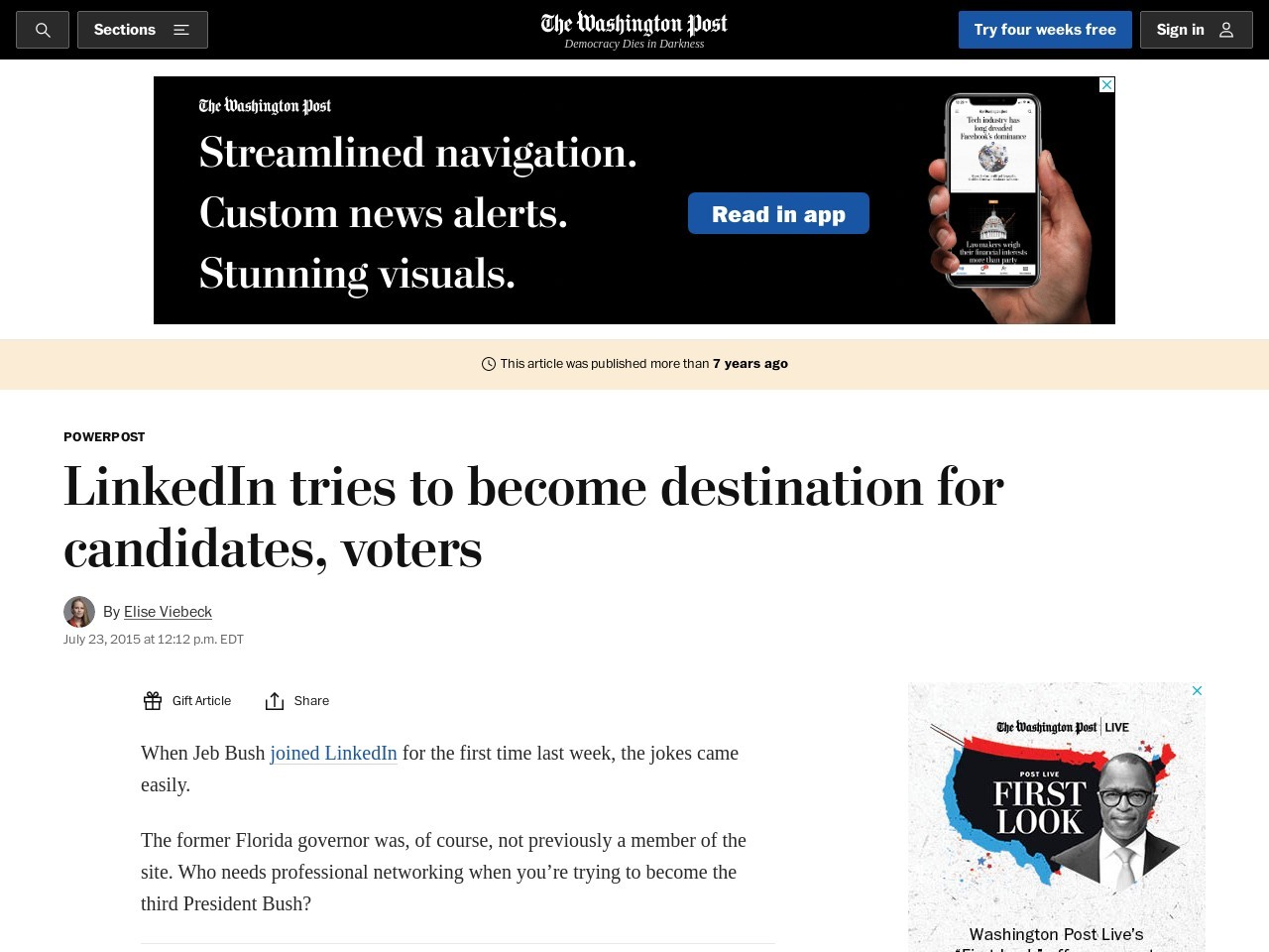 LinkedIn tries to become destination for candidates, voters – The Washington Post