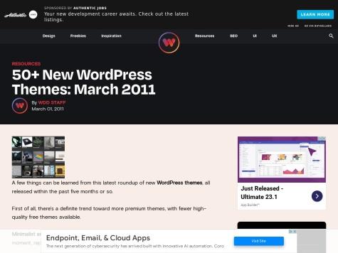 http://www.webdesignerdepot.com/2011/03/50-new-wordpress-themes-march-2011/