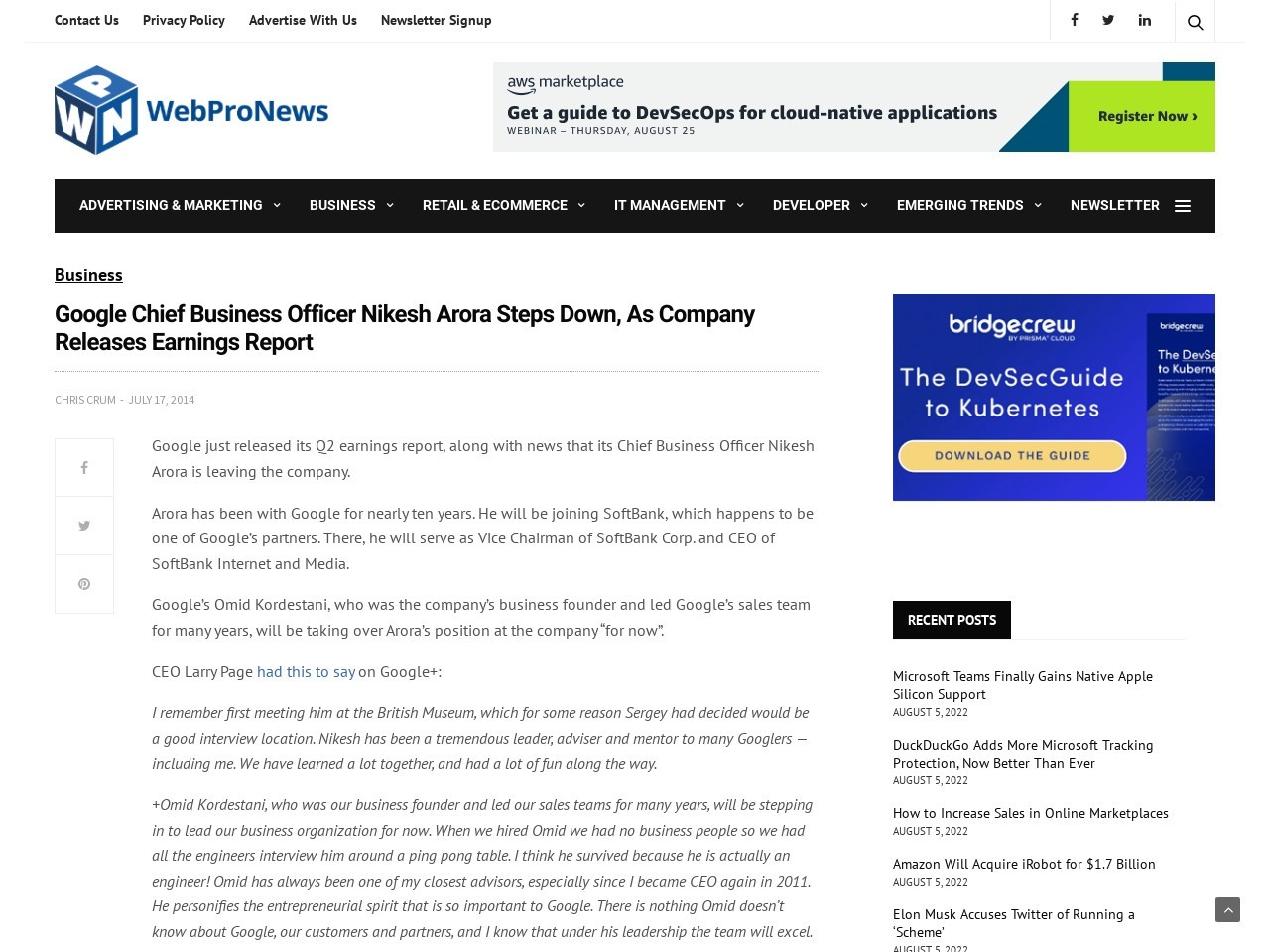 Google Chief Business Officer Nikesh Arora Steps Down, As Company Releases …
