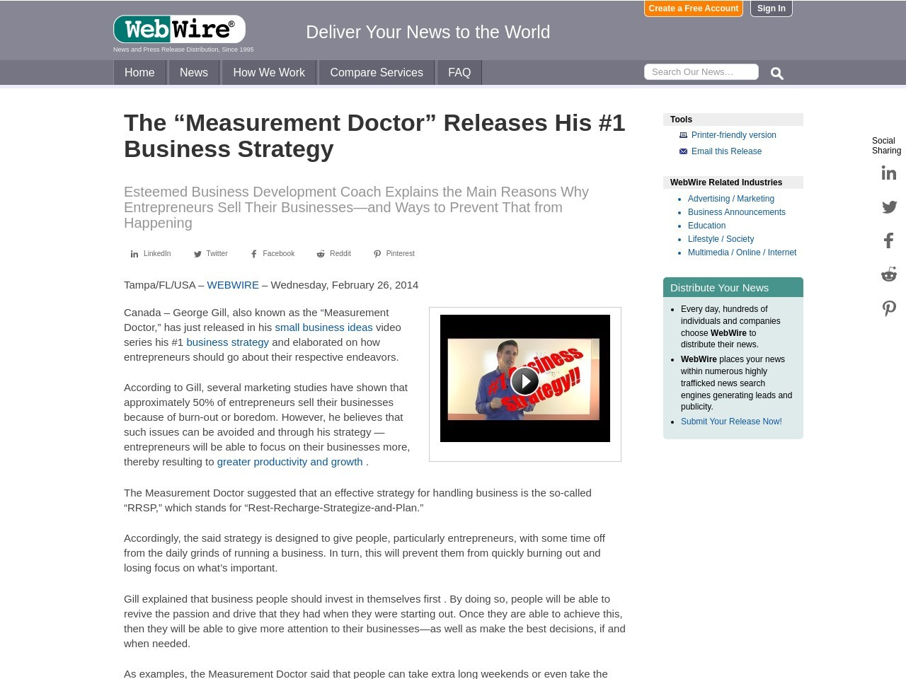 """The """"Measurement Doctor"""" Releases His #1 Business Strategy"""