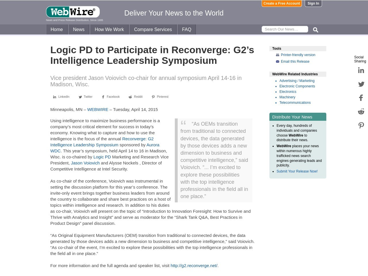 Logic PD to Participate in Reconverge: G2's Intelligence Leadership Symposium