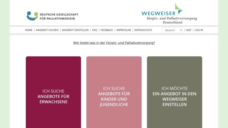 www.wegweiser-hospiz-palliativmedizin.de Vorschau, Wegweiser Hospiz- und Palliativmedizin Deutschland