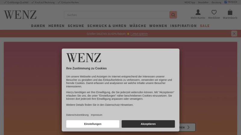 www.wenz.de Vorschau, Versandhaus Wenz GmbH