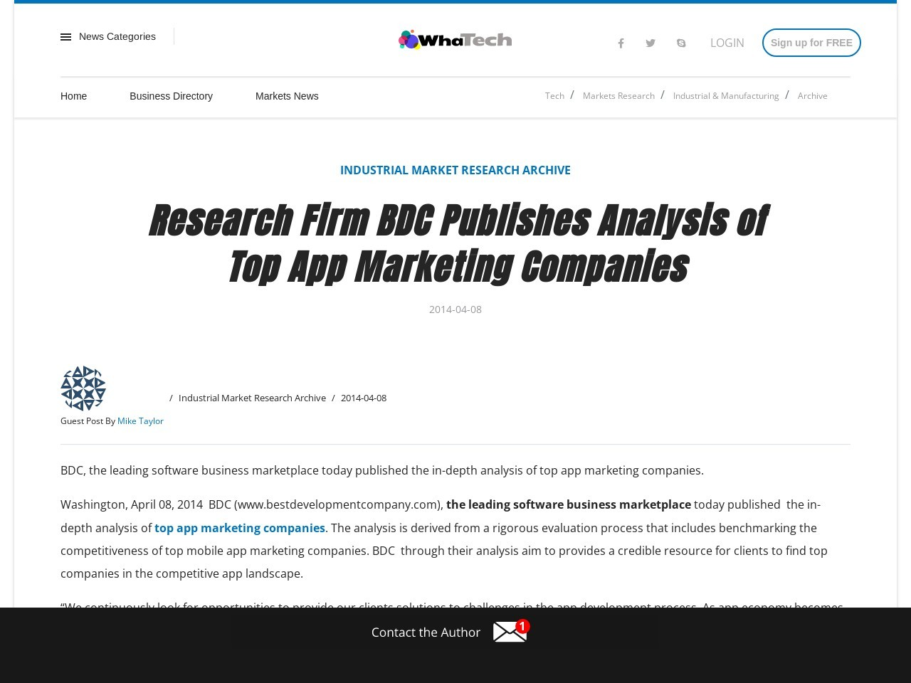Research Firm BDC Publishes Analysis of Top App Marketing Companies