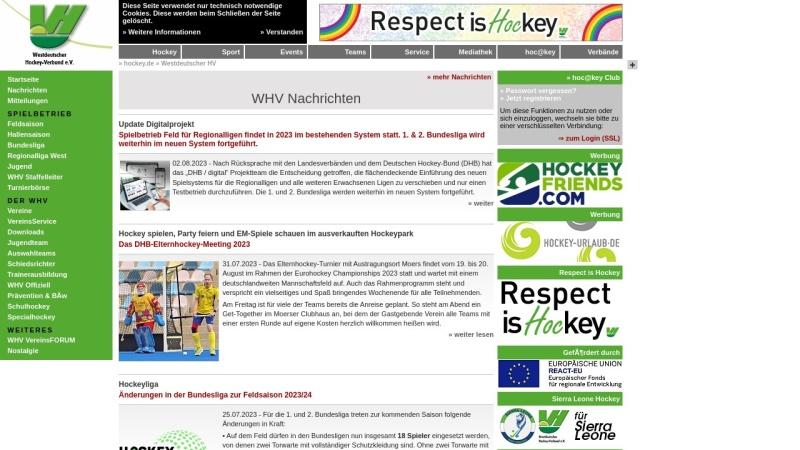 www.whv-hockey.de Vorschau, Westdeutscher Hockey-Verband e. V.