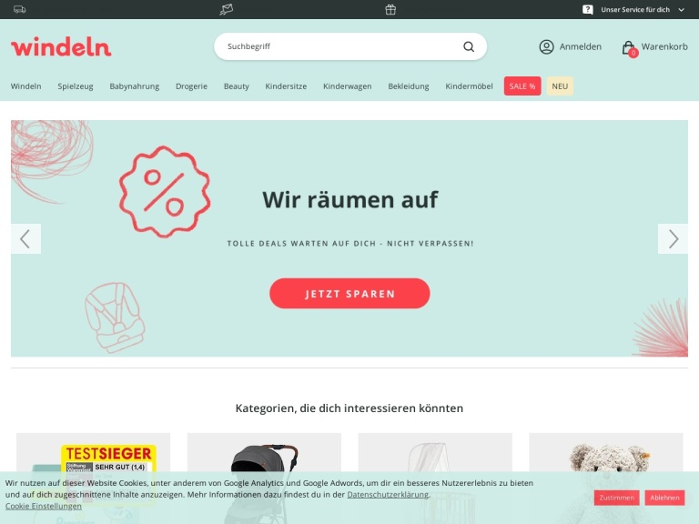 Windeln.de screenshot