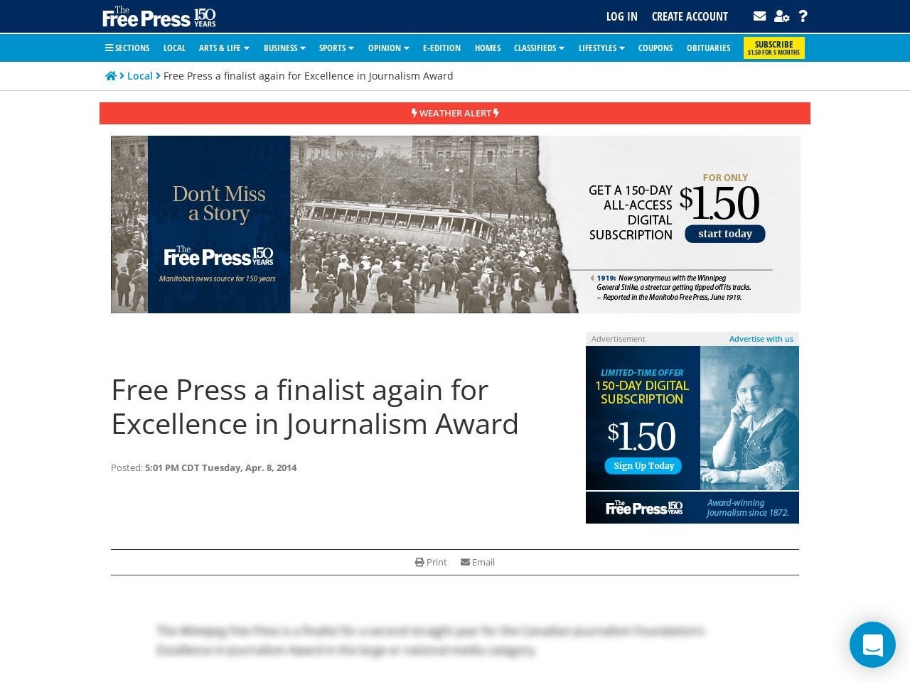 Free Press a finalist again for Excellence in Journalism Award