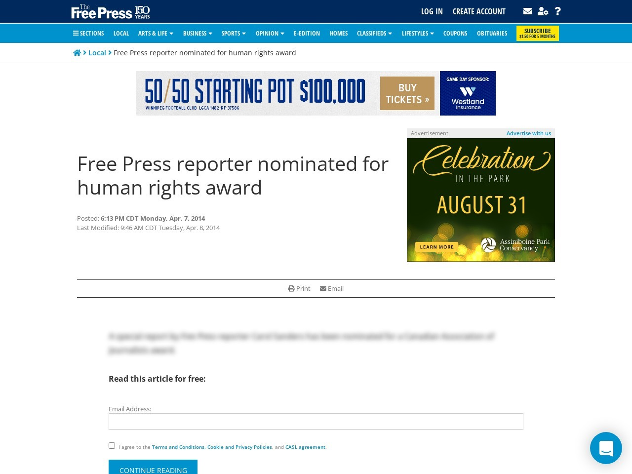 Free Press reporter nominated for human rights award