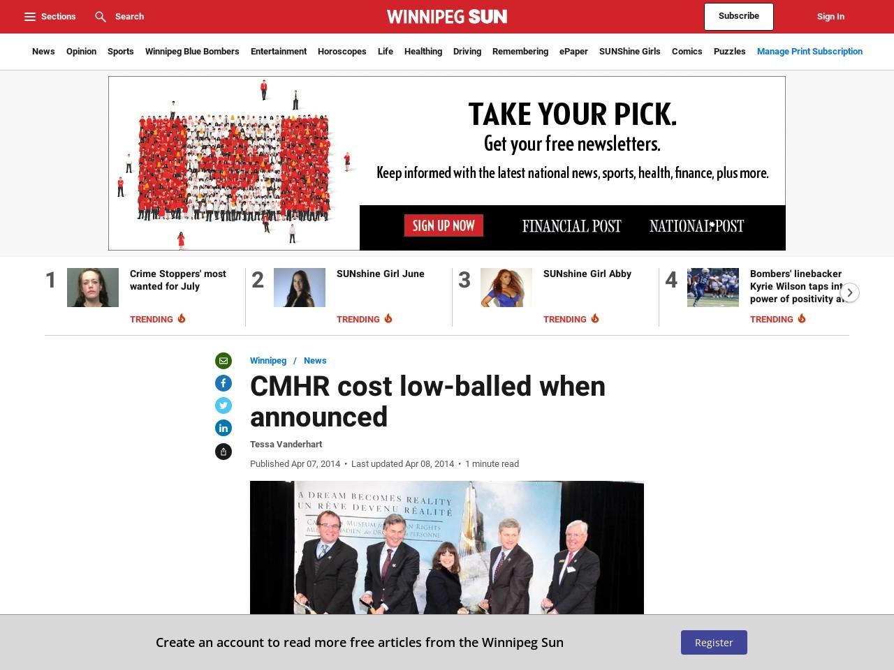 CMHR cost low-balled when announced | Winnipeg | News …