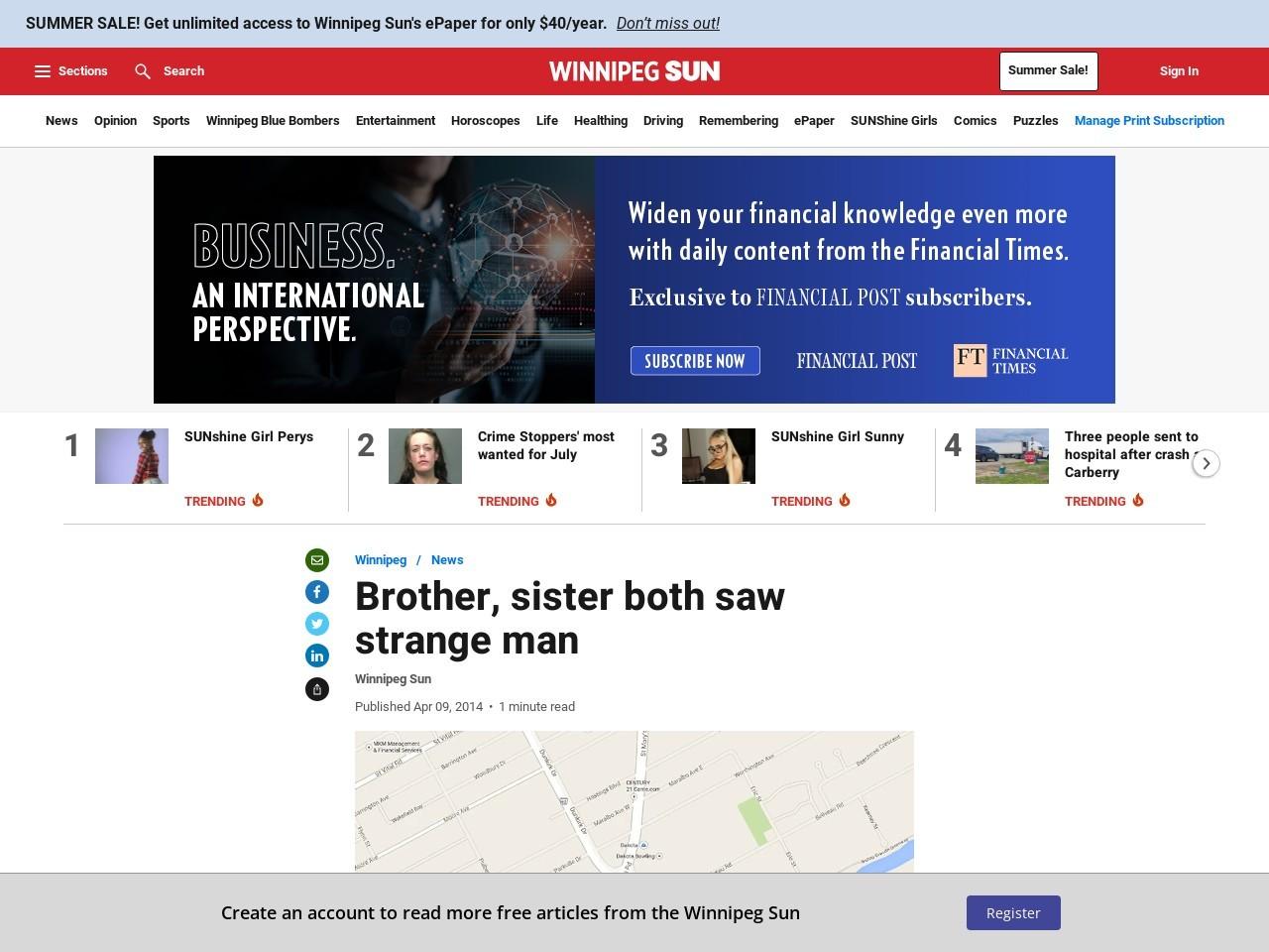Brother, sister both saw strange man | Winnipeg | News | Winnipeg …