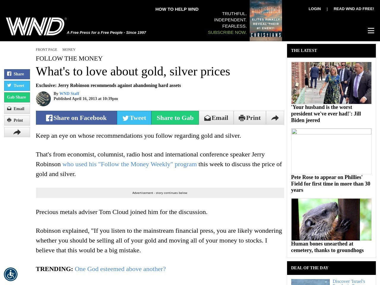 What's to love about gold, silver prices – WorldNetDaily