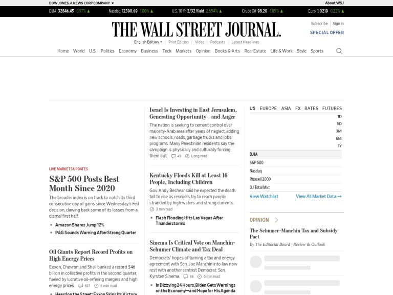 The Wall Street Journal screenshot