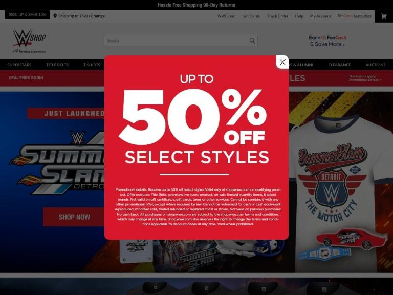 WWEShop.com screenshot