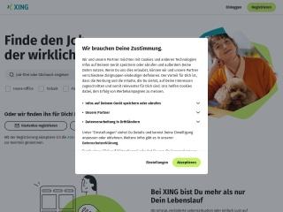 Screenshot der Website xing.com