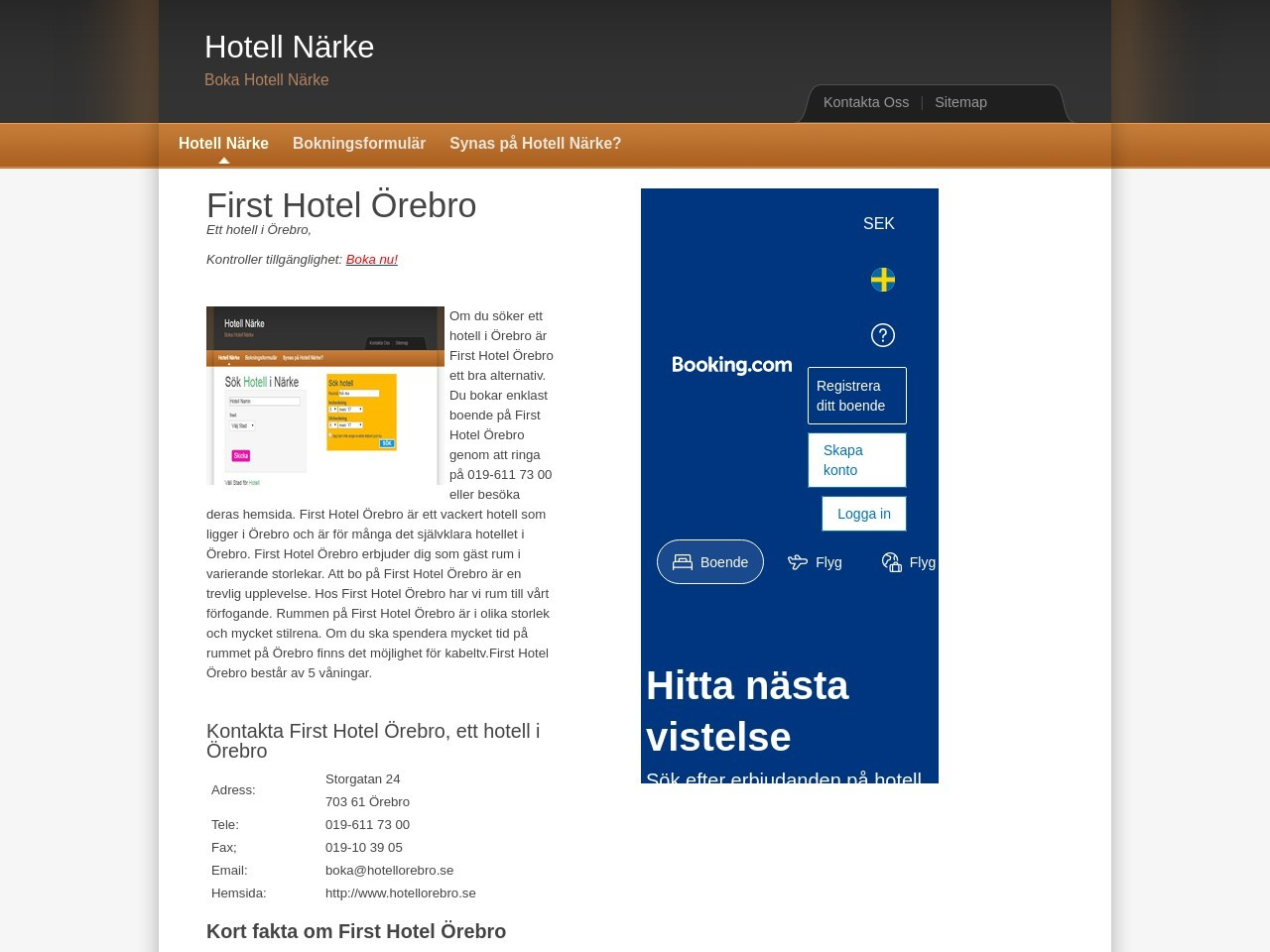 First Hotel Örebro.  Hotell i Örebro. Hotell Närke.