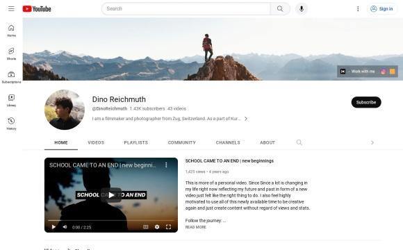 Luftaufnahmen, DinoReichmuth YouTube Channel