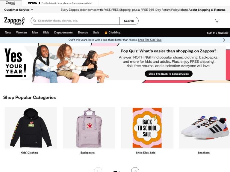 Zappos.com screenshot